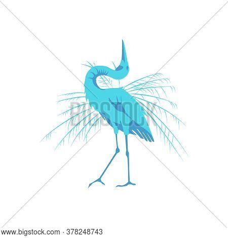 Great Blue Heron Beautiful Bird. Tropical Nature Wildlife Design Element Cartoon Vector Illustration