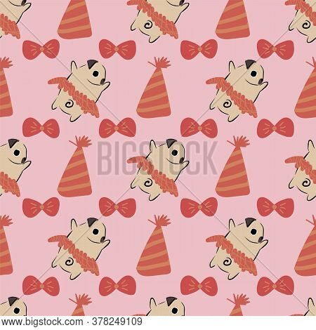 Pug Dog Hat Bone Bow Tie Tutu Seamless Pattern. Great For Gift Wrapping, Wallpaper, Textile And Scra