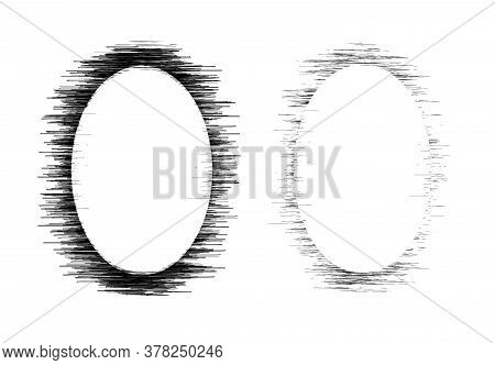 Grunge Vintage Frame For Photo Image As Abstract Oval Old Distressed Dirty Element Design Vector Ill
