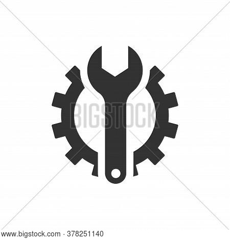 Wrench And Gear Isolated Icon On White Background. Wrench And Gear A Simple Sign Icon. Wrench And Ge
