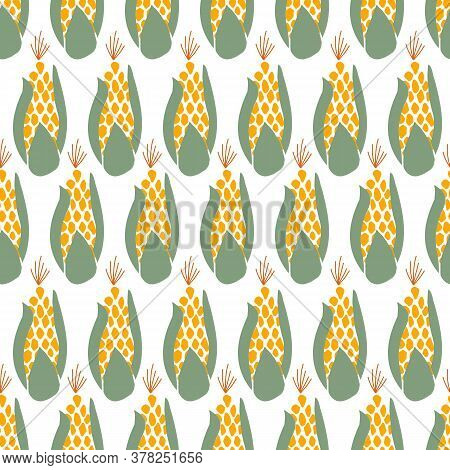 Corn Seamless Vector Background. Maize Repeating Pattern. Autumn, Fall, Harvesting Design. Use For T