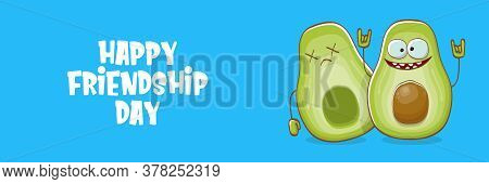 Happy Friendship Day Cartoon Comic Horizontal Banner With Two Funky Avocado Friends And Cartoon Sun