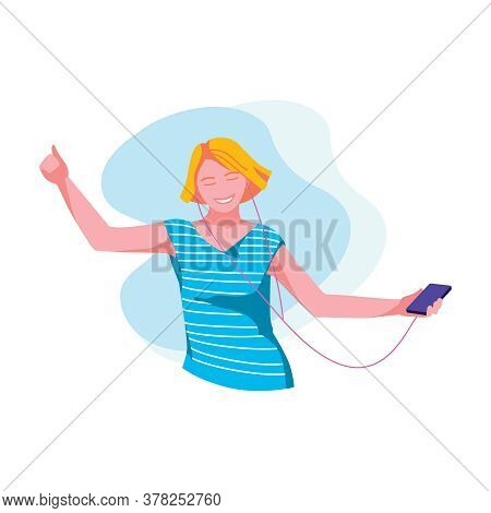 Woman Listening Music With Headphones. Happy Girl Wearing Fashionable Clothes Enjoying Of Listening,