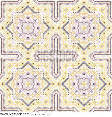 Ornate Victorian Majolica Tile Seamless Ornament. Ethnic Structure Vector Swatch. Carpet Print Desig