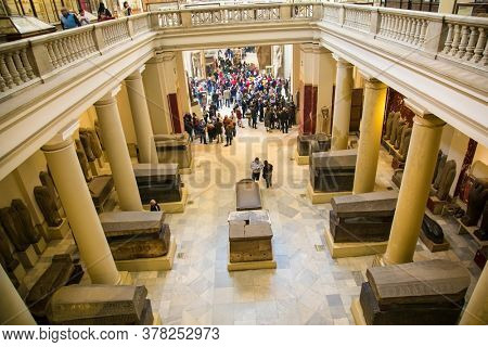 Cairo, Egypt - Jan 31, 2020:  Interior of the Museum of Egyptian Antiquities (Egyptian Museum) which houses the world\'s largest collection of ancient Egyptian antiquities in Cairo,  Egypt.
