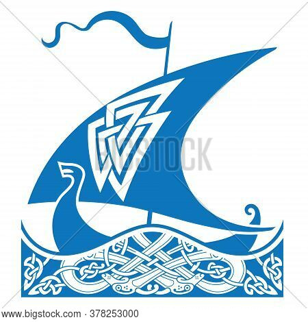 An Ancient Scandinavian Image Of A Viking Ship And Celtic Pattern. Drakkar Logo