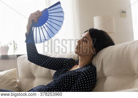 Unwell Asian Girl Feel Overheated Wave Using Hand Fan