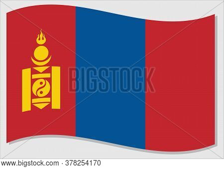 Waving Flag Of Mongolia Vector Graphic. Waving Mongolian Flag Illustration. Mongolia Country Flag Wa