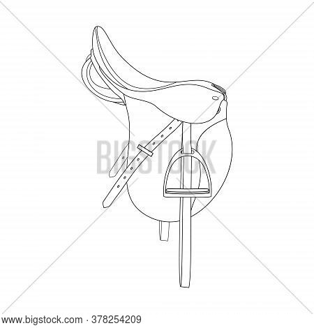 The Horse Saddle Is Isolated On The White Background, Line Art.