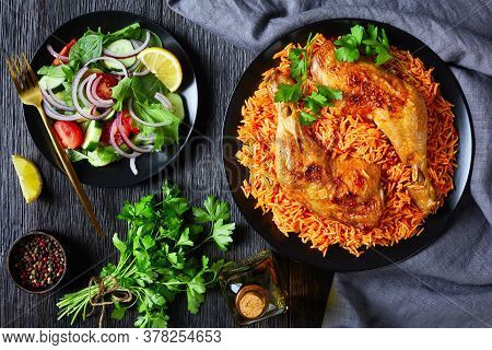 Thakkali Sadam - Indian Tomato Rice With Roasted Chicken Legs With Salad Of Tomatoes, Spinach, Cucum