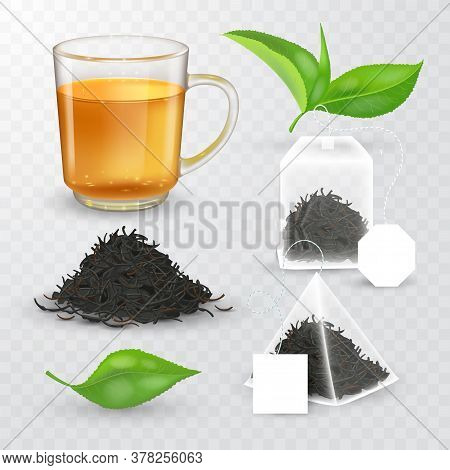High Detailed Vector Illustration Of Tea Design Elements Collection. Transparent Cup With Liquid And