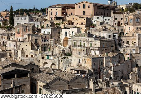 View Of The Sassi Di Matera A Historic District In The City Of Matera, Well-known For Their Ancient