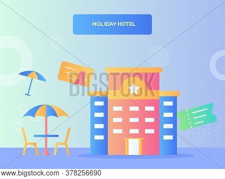 Facade Building Hotel One Star Nearby Umbrella Chair Ticket Identity Concept Holiday Hotel With Flat