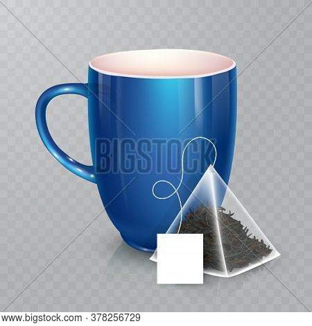 Vector Cup For Tea Or Coffee. Ceramic Cup Isolated On Transparent Background. Realistic Pyramidal Te