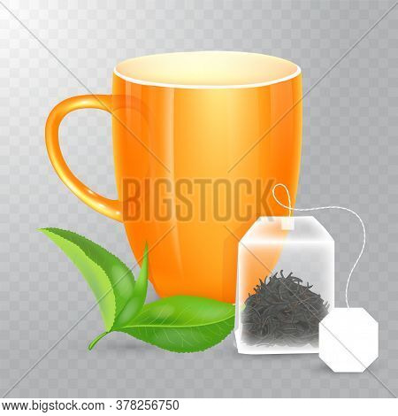 Vector Cup For Tea Or Coffee. Ceramic Cup Isolated On Transparent Background. Realistic Rectangular