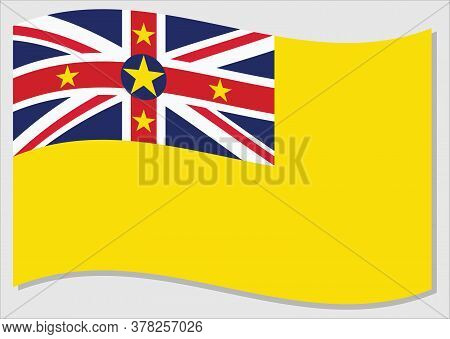 Waving Flag Of Niue Vector Graphic. Waving Niuean Flag Illustration. Niue Country Flag Wavin In The