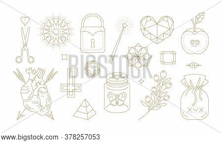 Assorted Graphic Outline Symbols For Witchcraft Practices