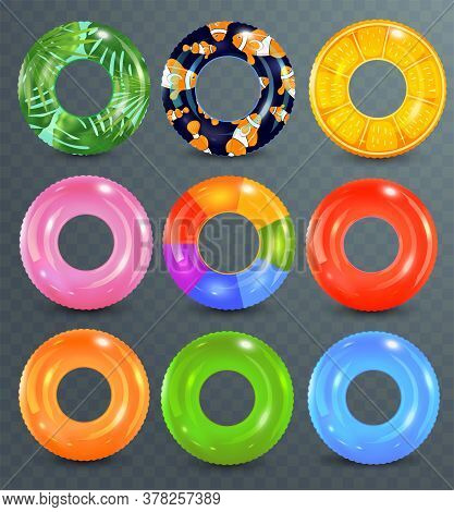Swim Rings Set On Transparent Background. Inflatable Rubber Toy. Lifebuoy Colorful Vector Collection