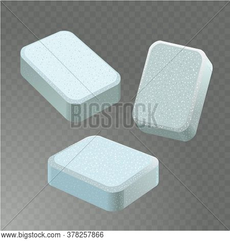 Dishwasher Detergent Tablet From Different Angles. White Soap Tabs Isolated On Transparent Backgroun