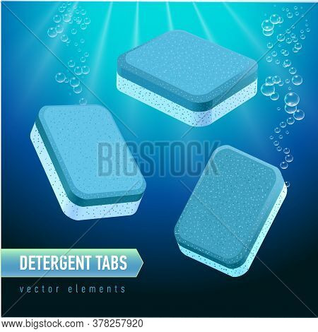 Dishwasher Detergent Tablet From Different Angles. Blue And White Soap Tabs On Deep Blue Water Backg