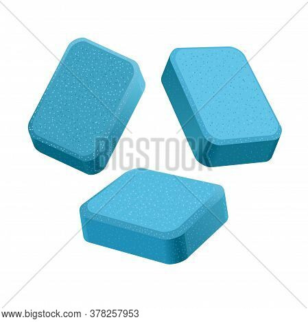 Dishwasher Detergent Tablet From Different Angles. Blue Soap Tabs Isolated On White Background.