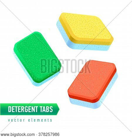 Dishwasher Detergent Tablet From Different Angles. Colored Soap Tabs Isolated On White Background.