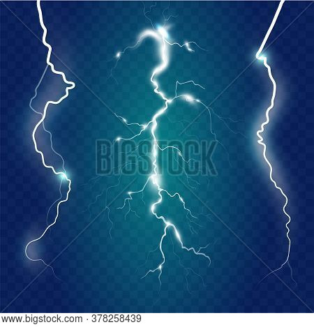 Set Of Isolated Lightning Effects On Blue Background. Thunder-storm Magic And Bright Lightning Effec