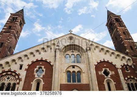 Facade Of The Cathedral (duomo) With Bell Towers In Casale Monferrato, Piedmont, Italy