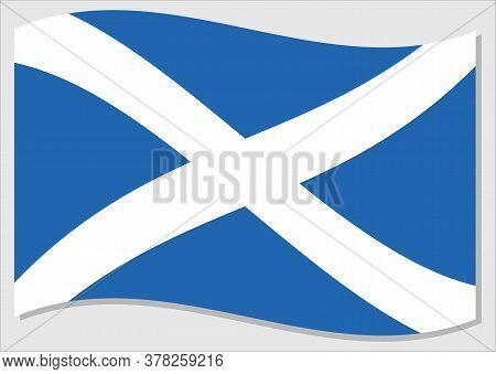 Waving Flag Of Scotland Vector Graphic. Waving Scottish Flag Illustration. Scotland Country Flag Wav