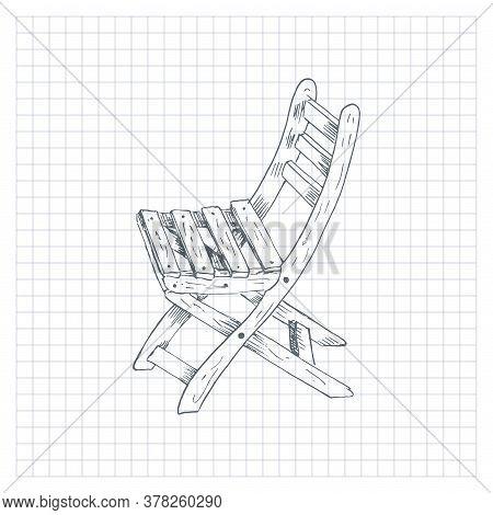 Hand Drawn Garden Chair. Sketch Style Vector Illustration Of Wooden Garden Chair. Single, On Checker