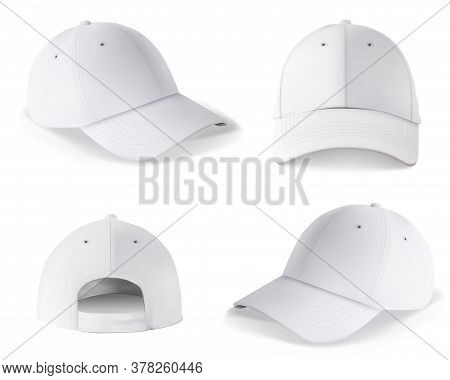 Baseball Cap Template. Blank White Cap Mockup Front And Back Side Design Isolated On White Backgroun