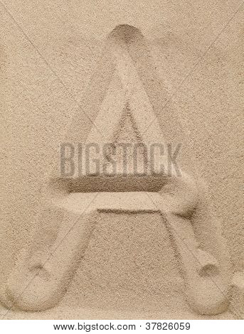 Letter A from sand