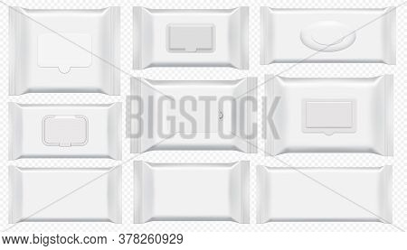 Wet Wipes Package. Antibacterial Wipe Plastic Pack Template Isolated Set. Blank White Box Top View F