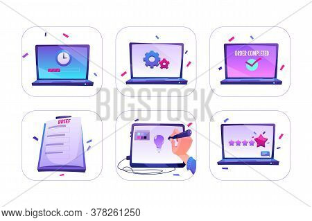 Set Of Icons Online Order, Designer Create Idea On Graphic Tablet, Rating Or Customer Feedback With