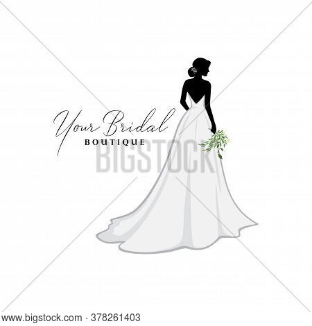 Beautiful Bride With Flower Bouquet, Bridal Boutique Logo, Bridal Brocade Gown Logo Vector Design Te