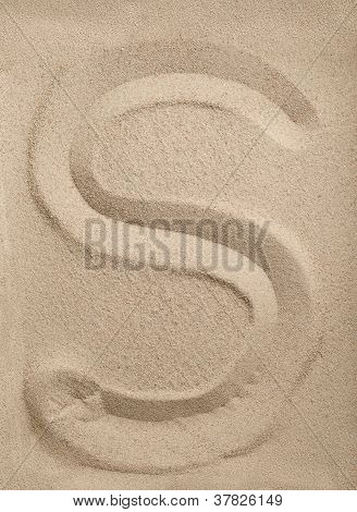 Letter S from sand