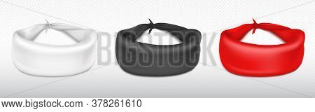 Bandana, Scarf For Head Isolated On Transparent Background. Vector Realistic Mockup Of Red, White An
