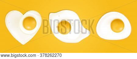 Fried Eggs Different Shapes Isolated On Yellow Background. Vector Realistic Illustration Of Omelette