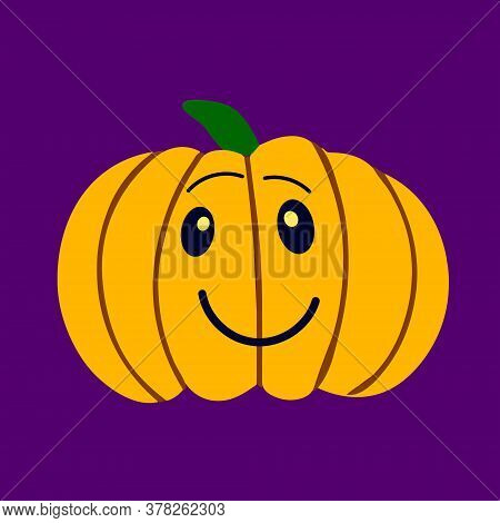 Smiling Pumpkin. Symbol Of The Halloween Holiday. Orange Pumpkin With A Smile For Your Design For Th