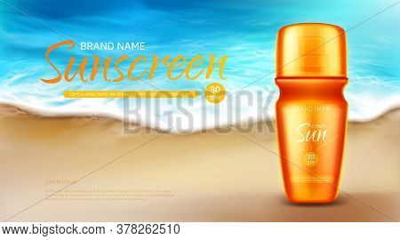 Sunscreen Protection Cosmetic Ad Banner, Summer Uv Block Cream Tube Stand On Sand At Coastline With