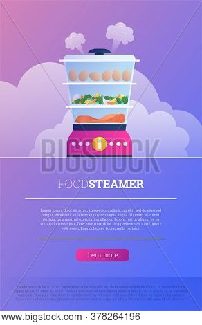 Flat Food Steamer Device Landing Page. Healthy Food Cooking In Electic Double Boiler. Household Stea