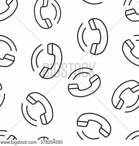 Phone Icon In Flat Style. Telephone Call Vector Illustration On White Isolated Background. Mobile Ho