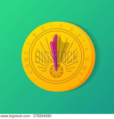 Golden Solar Dial With Shadow. Ancient Sundial Clock With Roman Numbers. Time Measuring, Punctuality