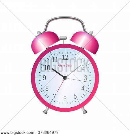 Pink Classic Alarm Clock. Morning Wake Up Symbol. Conception Of Punctuality, Accuracy And Time Measu