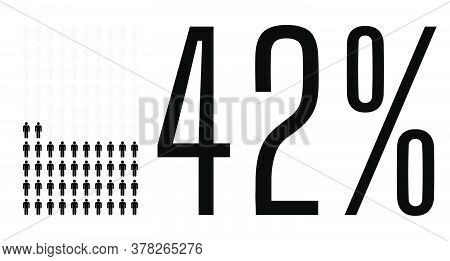 Forty Two Percent People Graphic, 42 Percentage Diagram. Vector People Icon Chart Design For Web Ui