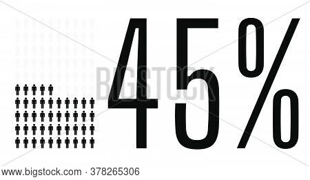 Forty Five Percent People Graphic, 45 Percentage Diagram. Vector People Icon Chart Design For Web Ui
