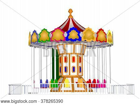 Amusement Park, Theme Park, Water Park. A Large Set Of Carousel Icons, Water Slides, Fun On Vacation
