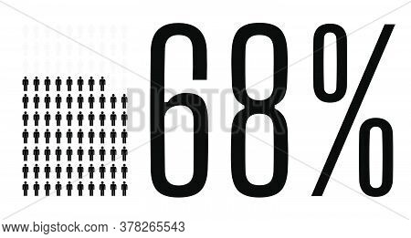 Sixty Eight Percent People Graphic, 68 Percentage Diagram. Vector People Icon Chart Design For Web U