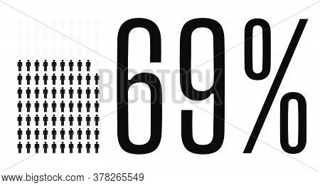Sixty Nine Percent People Graphic, 69 Percentage Diagram. Vector People Icon Chart Design For Web Ui