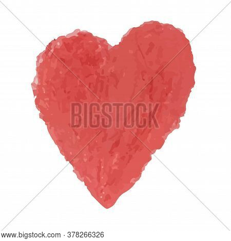 Vector Colorful Illustration Of Heart Shape Drawn With Red Colored Chalk Pastels. Elements For Desig